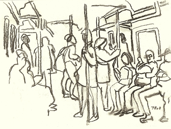 600x454 In The Subway, Nyc Drawing By Thor Wickstrom