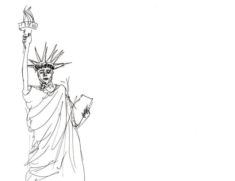 770x595 Saatchi Art Nyc Liberty Drawing By Alexander Yakov