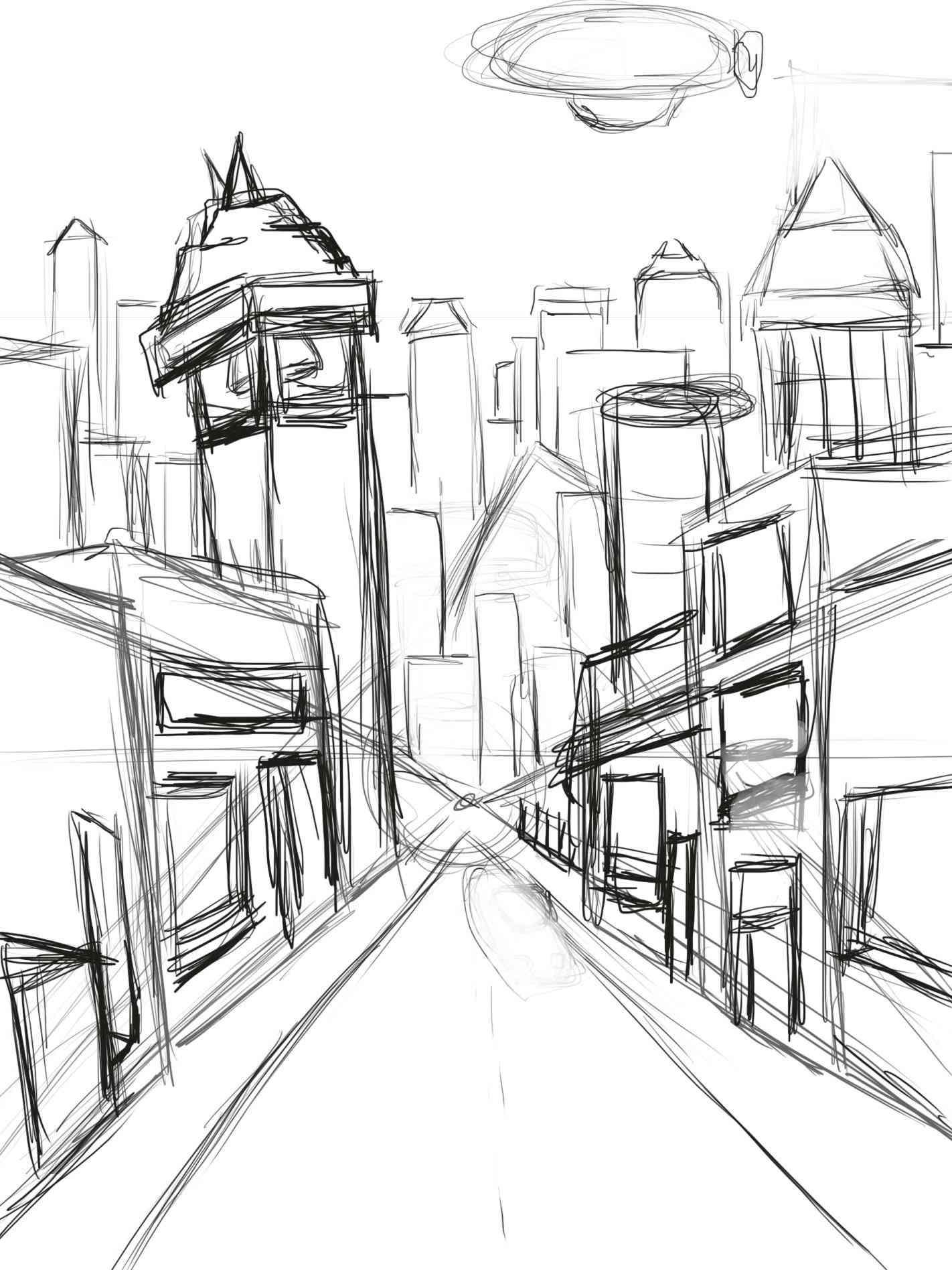 1422x1896 City Landscape Drawing Drawn Skyline City Landscape