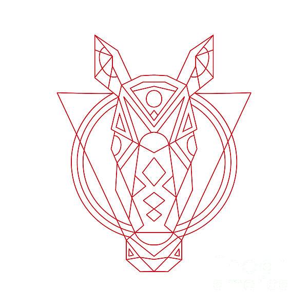 600x600 Geometric Horse Head Line Drawing Digital Art By Aloysius Patrimonio