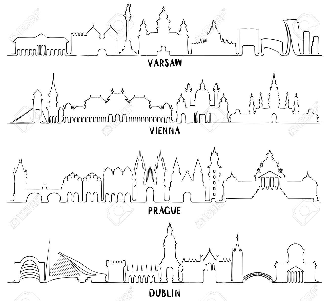 1300x1192 Skyline With Historic Architecture, Line Vector Illustration