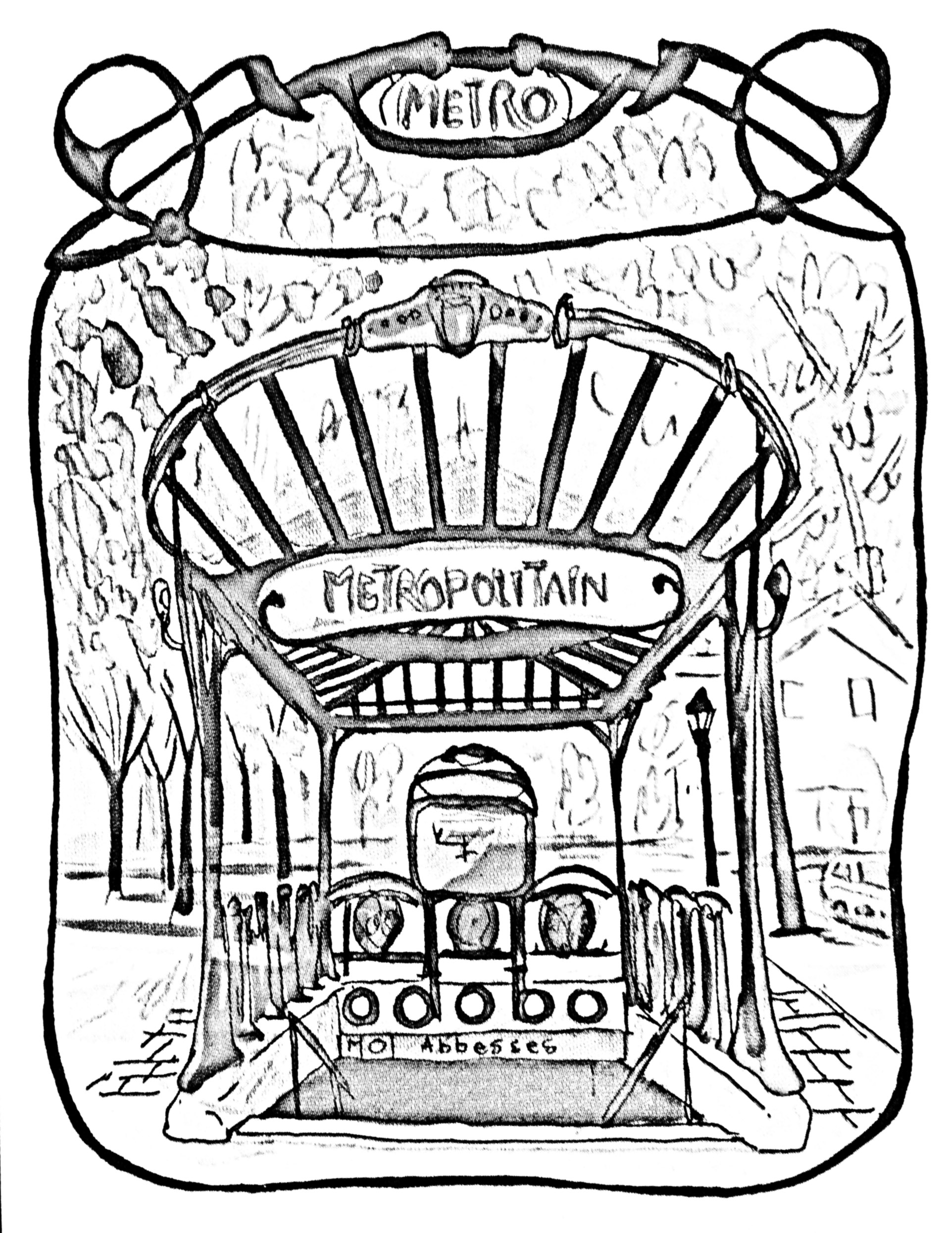 1923x2489 Free Coloring Page Coloring Adult Entrance Gate To Paris Subway