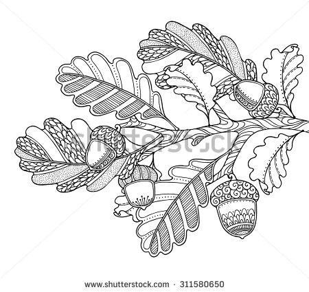 450x425 Oak Leaf Zentangle Borders