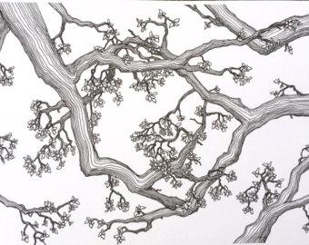 340x270 Oak Tree Art Print Old Oak Tree. Original Woodcut Botanical