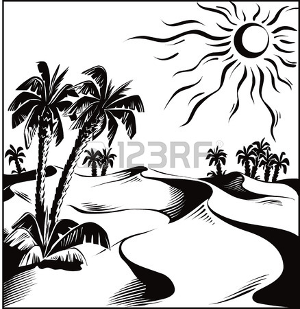 438x450 African Desert Oasis Royalty Free Cliparts, Vectors, And Stock