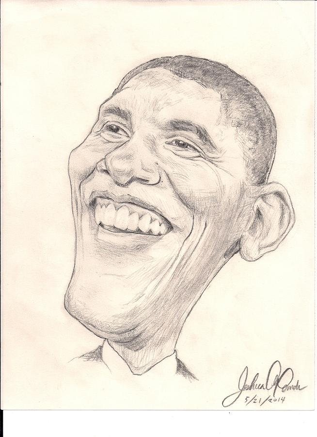 654x900 Obama Caricature Drawing By Joshua Alexander