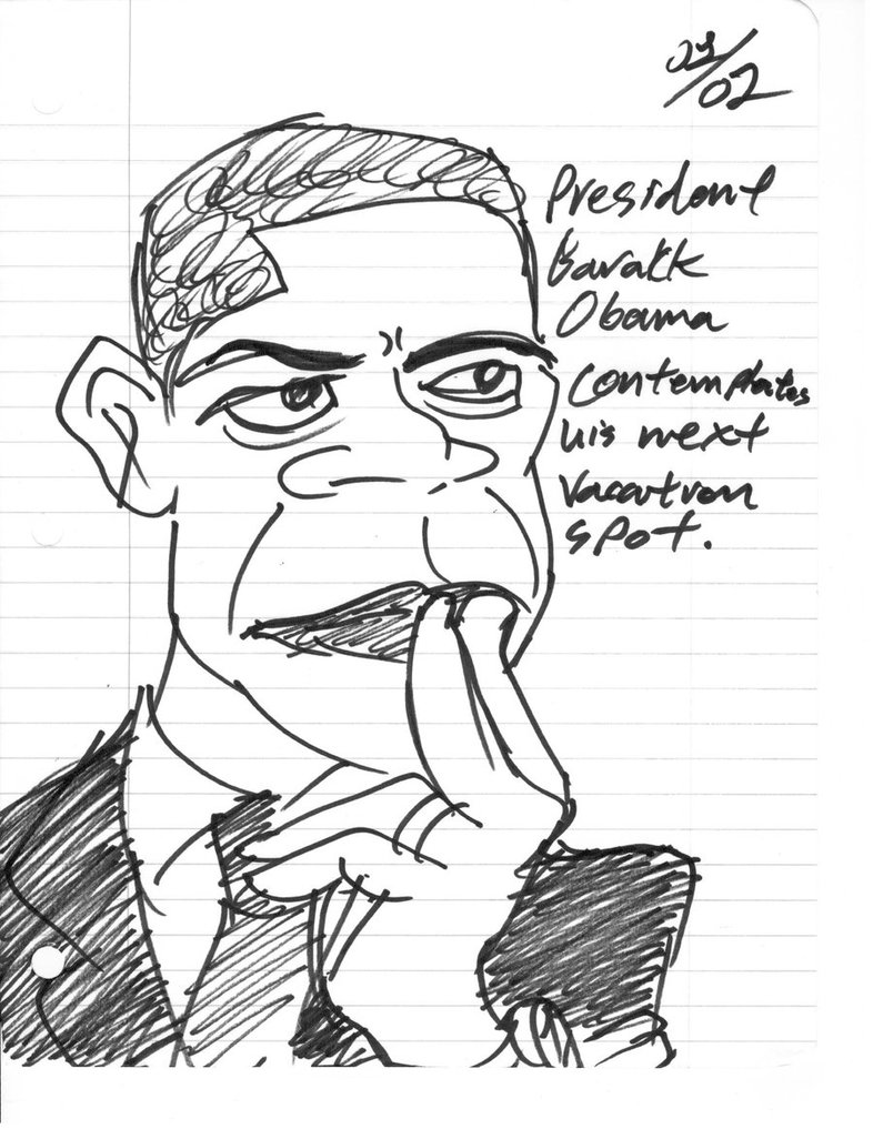 786x1017 Sharpie Caricature Contemplating Barack Obama By Smokingsumsoup
