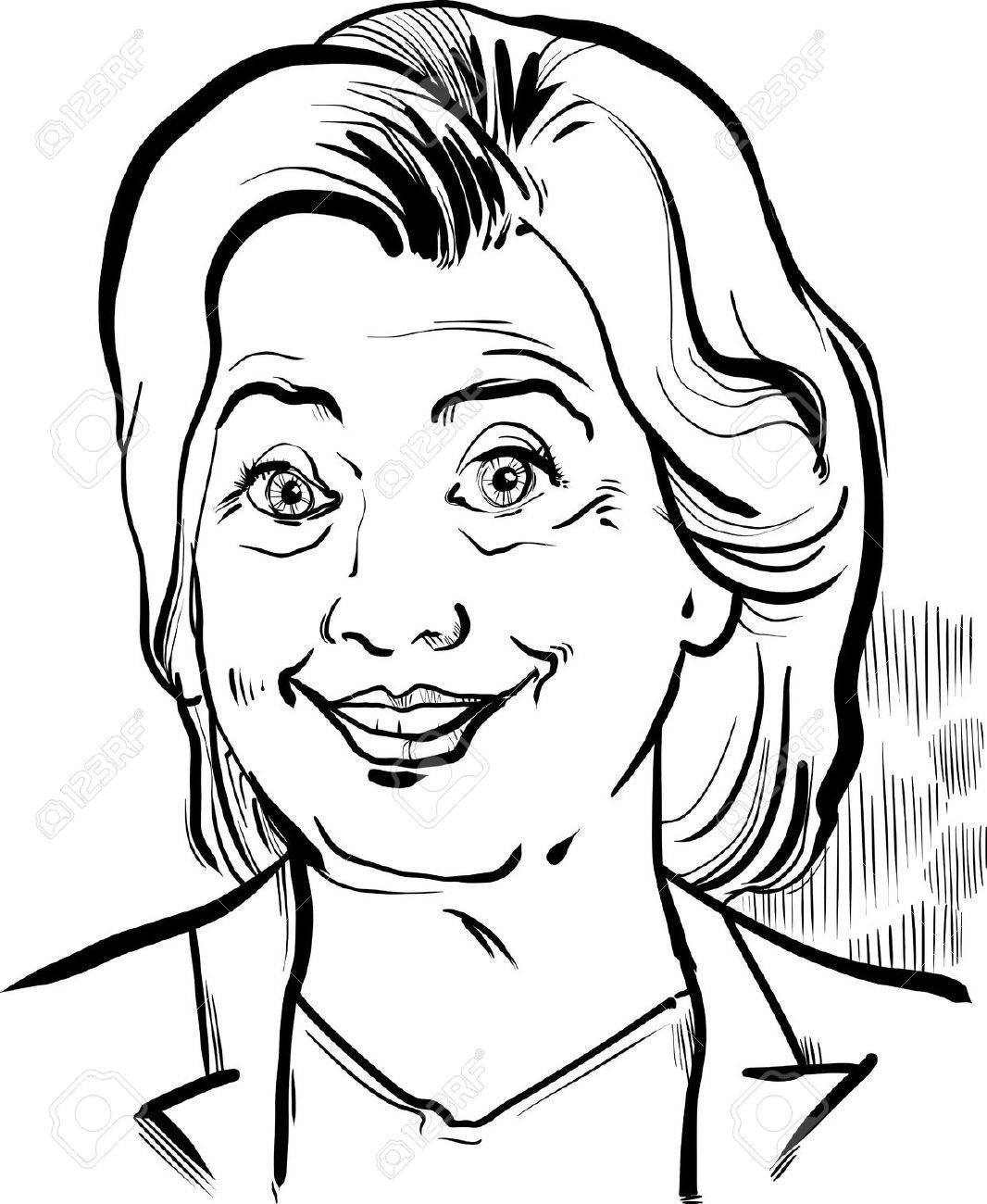 1066x1300 Black And White Drawing Caricature Portrait Of Hillary Clinton