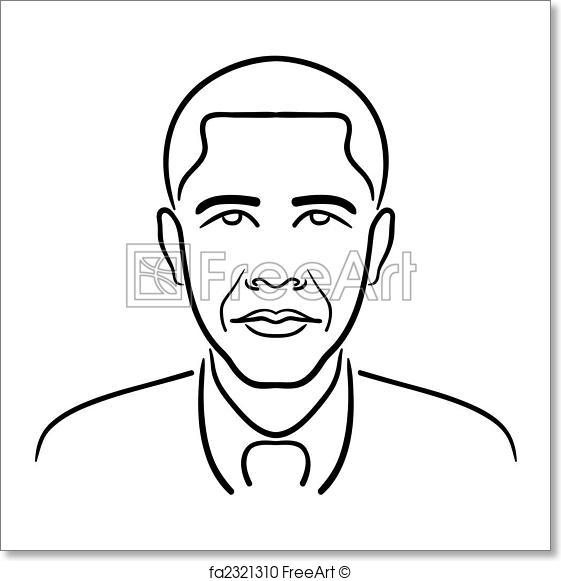 561x581 Free Art Print Of Barack Obama Line Drawing. Simple, Clean Line