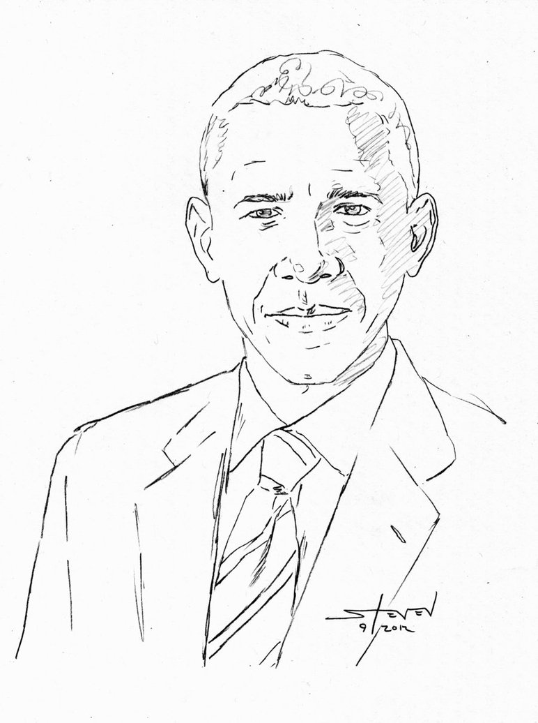 772x1036 Obama Sketch By Stevenwilcox