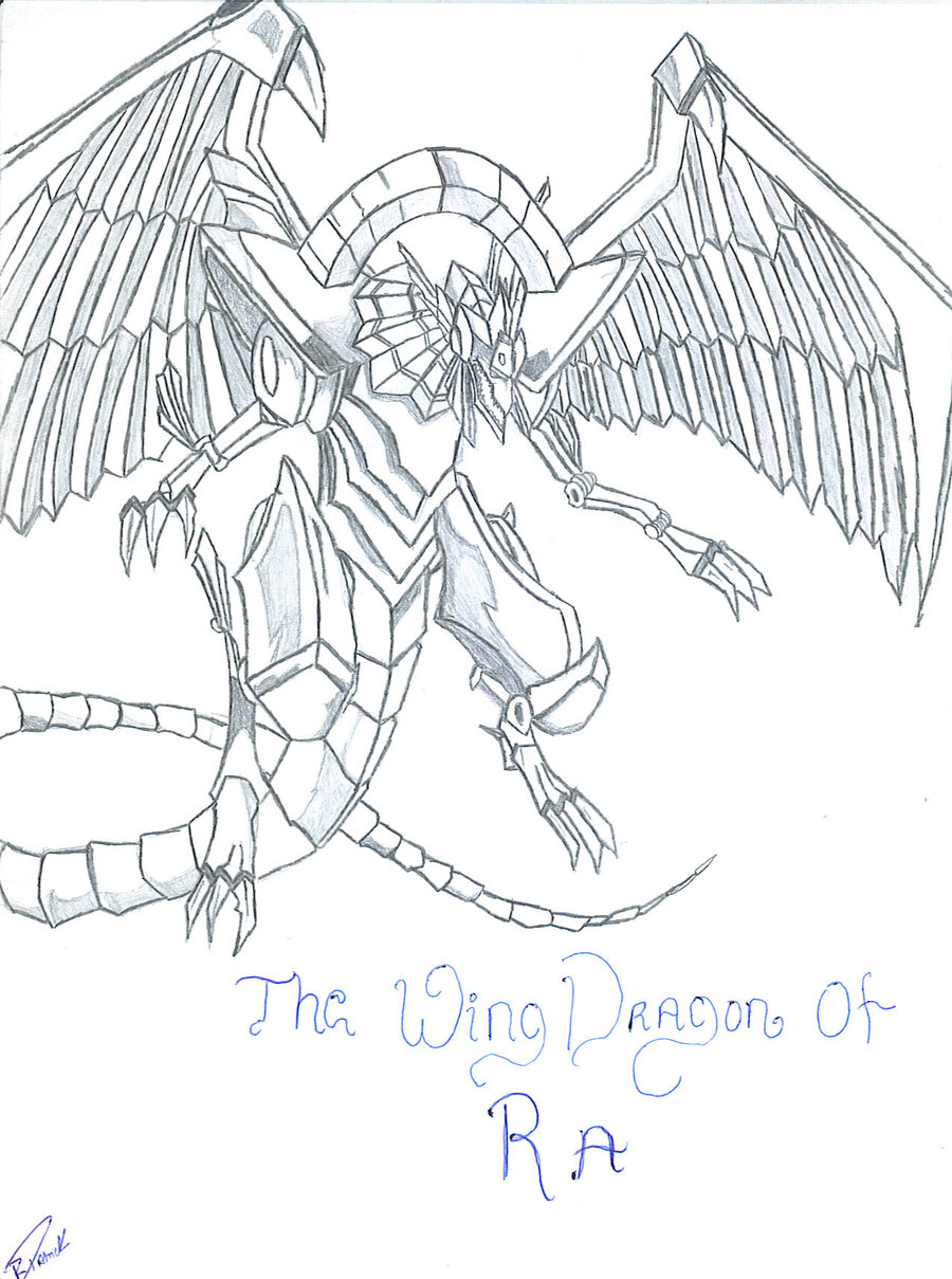 900x1209 The Wing Dragon Of Ra Drawing By Master101