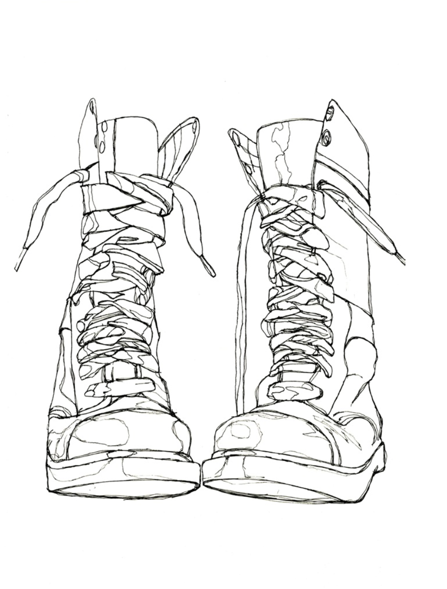 904x1192 Contour Line Drawing Shoes Brian Cho