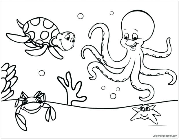 618x481 Free Sea Life Coloring Pages Ocean Together With Marine Under
