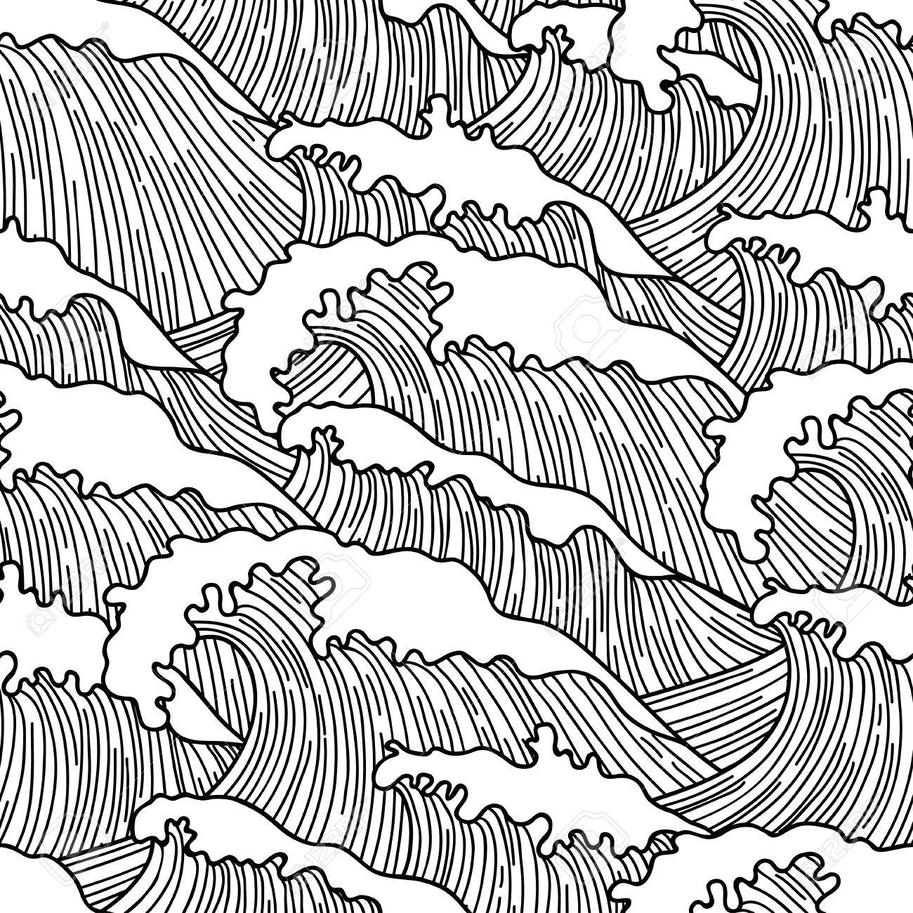 1300x1300 Sea Seamless Pattern With Abstract Hand Drawn Waves. Background