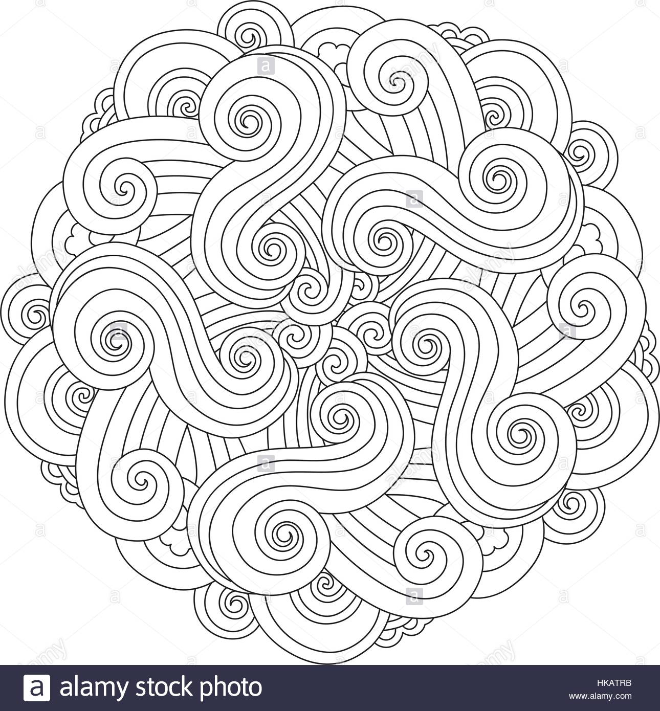 1290x1390 Graphic Mandala With Waves And Curles. Element Of Sea. Zentangle