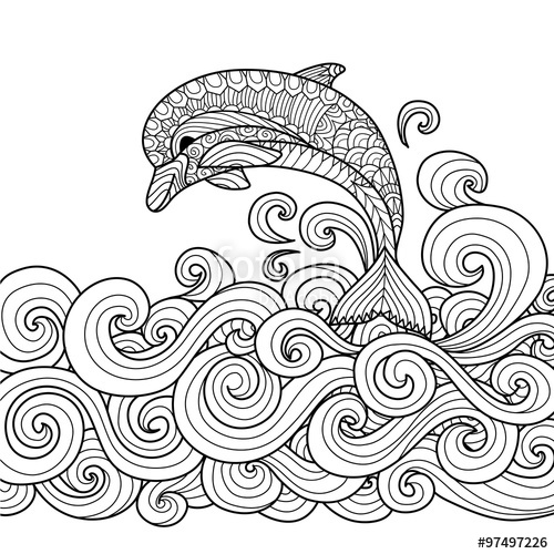 500x500 Hand Drawn Zentangle Dolphin With Scrolling Sea Wave For Coloring