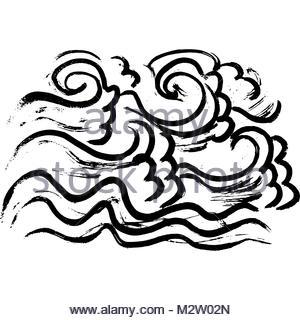 300x320 Ink Wavy Texture. Dry Brush Sea Pattern. Ocean Waves Painting
