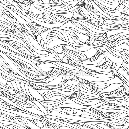 450x450 Abstract Waves Vector Seamless Pattern. Wavy Lines Of Sea Or Ocean