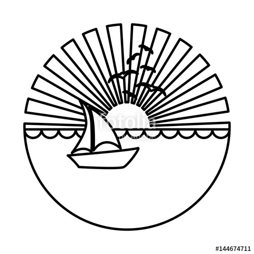 500x500 Silhouette Circular Background Sunset In The Ocean With Boat Over