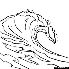 236x236 Wave Outline Drawing Wave Drawings Coloring Page