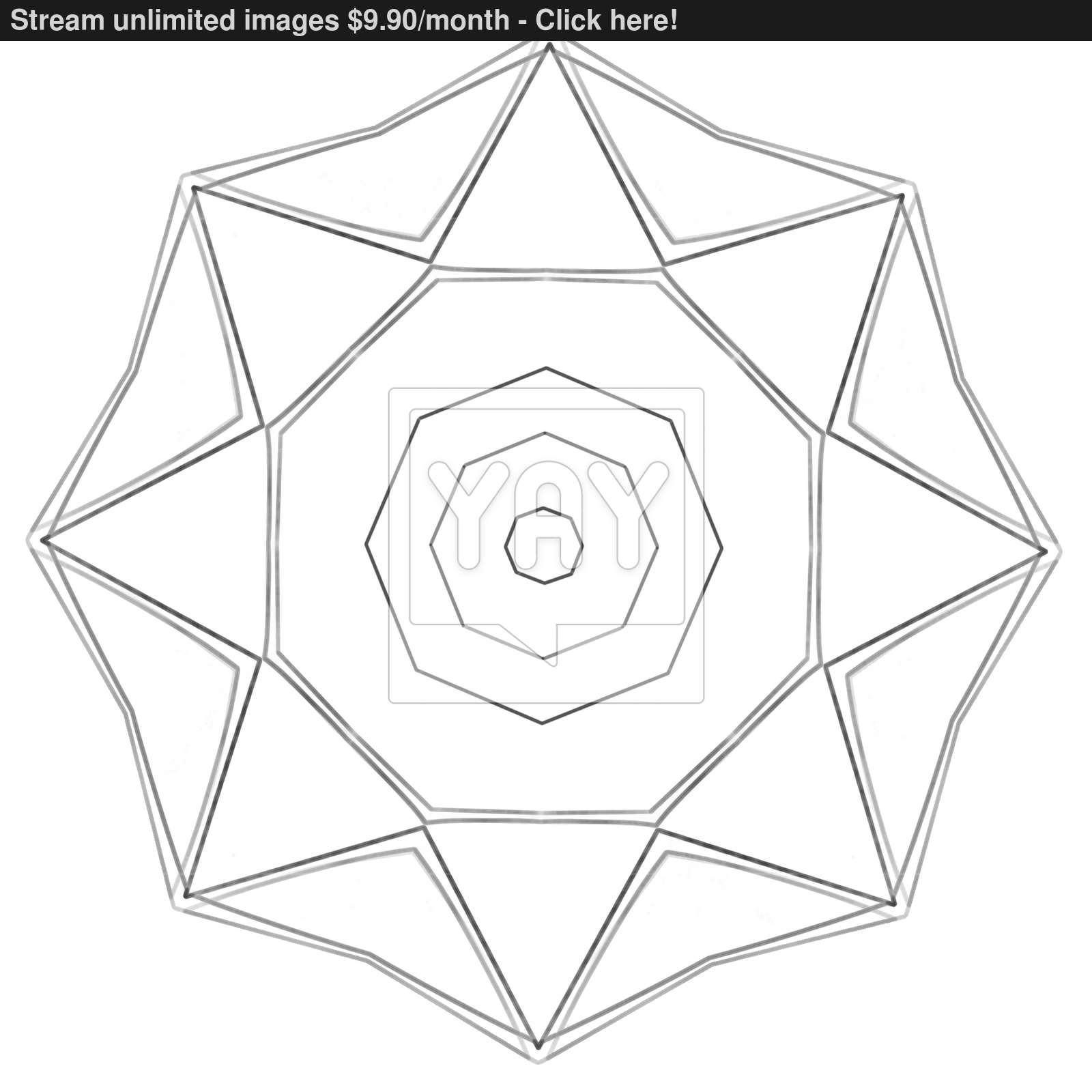 1600x1600 Illustration Coloring Book Series Octagon. Soft Thin Line. Print