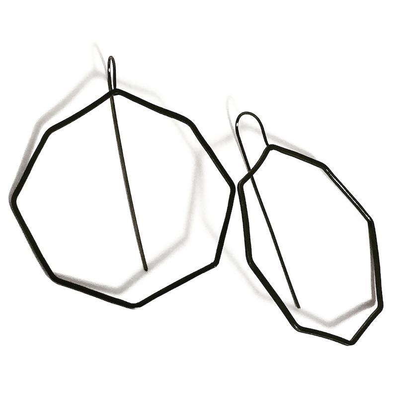 795x795 Votive Designs Jewelry Octagon Mod Hoop Oxidized Sterling Silver