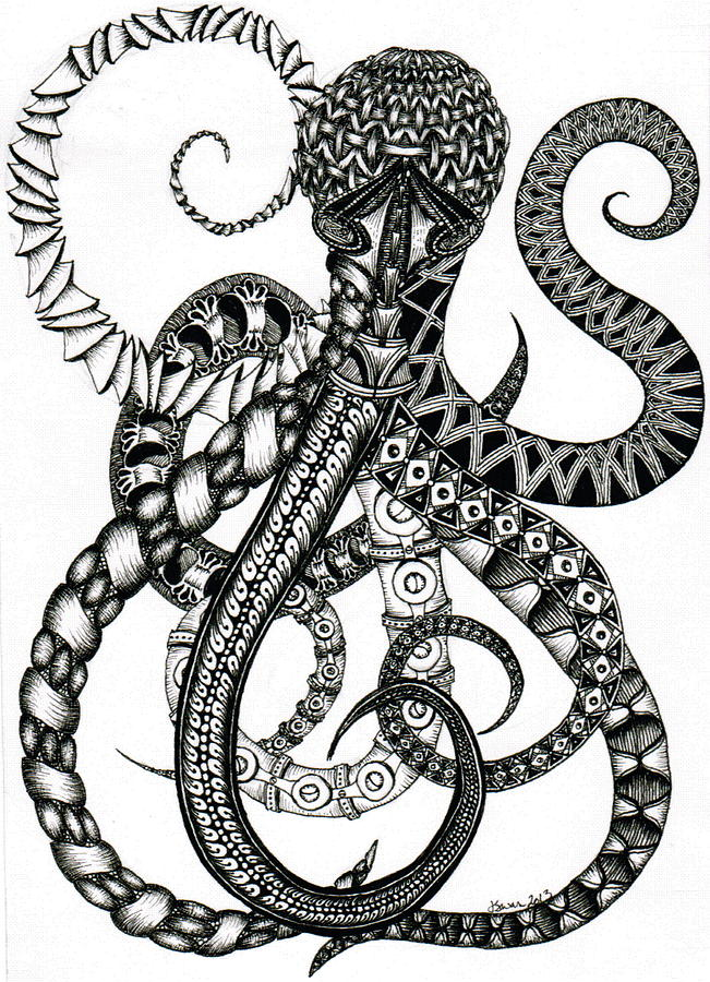 651x900 Octopus Drawing By Jessica Swanson