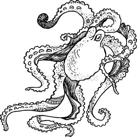 450x450 Octopus. Vector Drawing Stock Vector Marinka