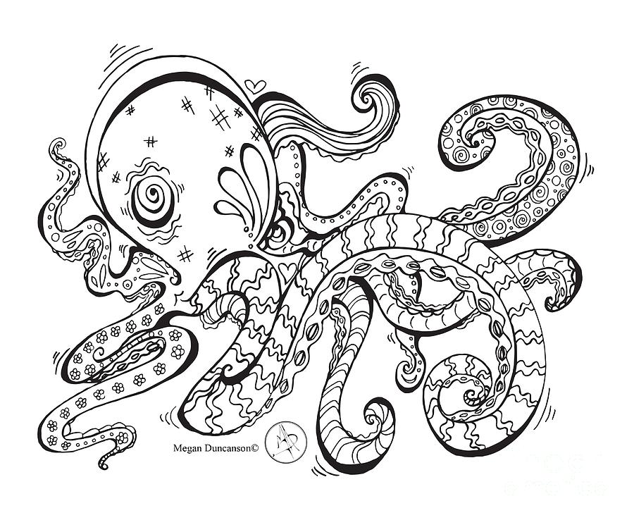 900x738 Coloring Page With Beautiful Octopus Drawing By Megan Duncanson
