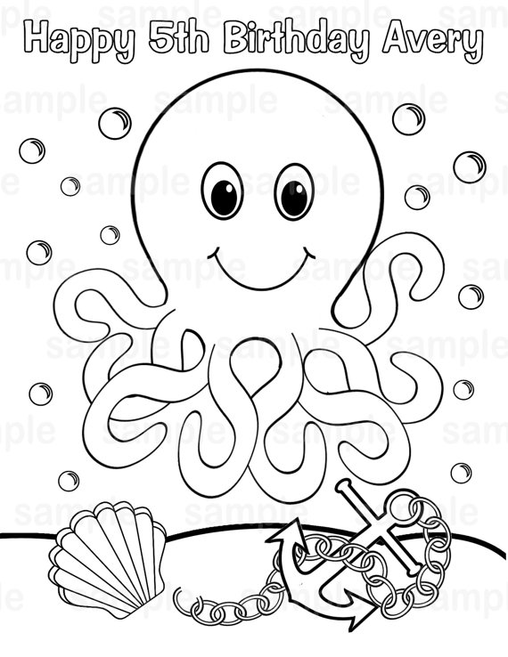 570x738 Personalized Printable Octopus Under The Sea Birthday Party