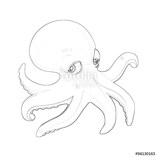 500x500 Illustration Coloring Book Series Octopus. Soft Thin Line. Print