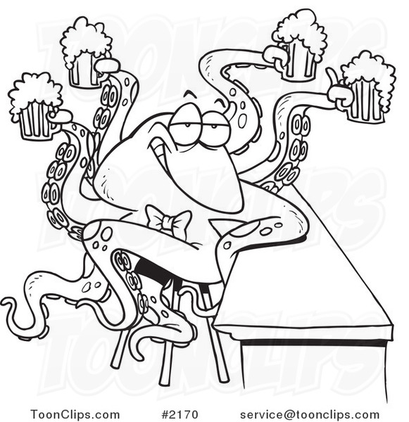 581x600 Cartoon Black And White Line Drawing Of An Octopus Bartender