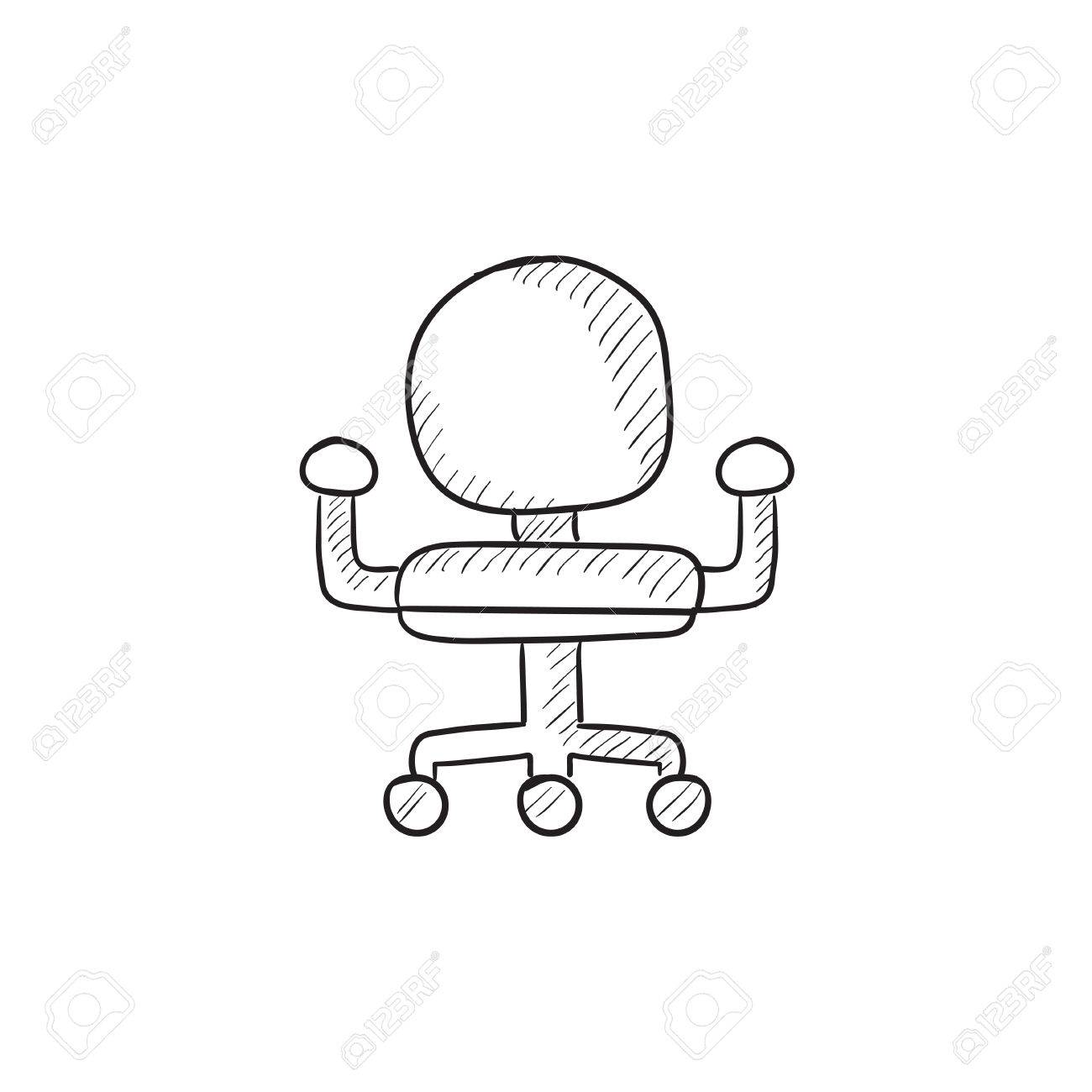 1300x1300 Office Chair Vector Sketch Icon Isolated On Background. Hand
