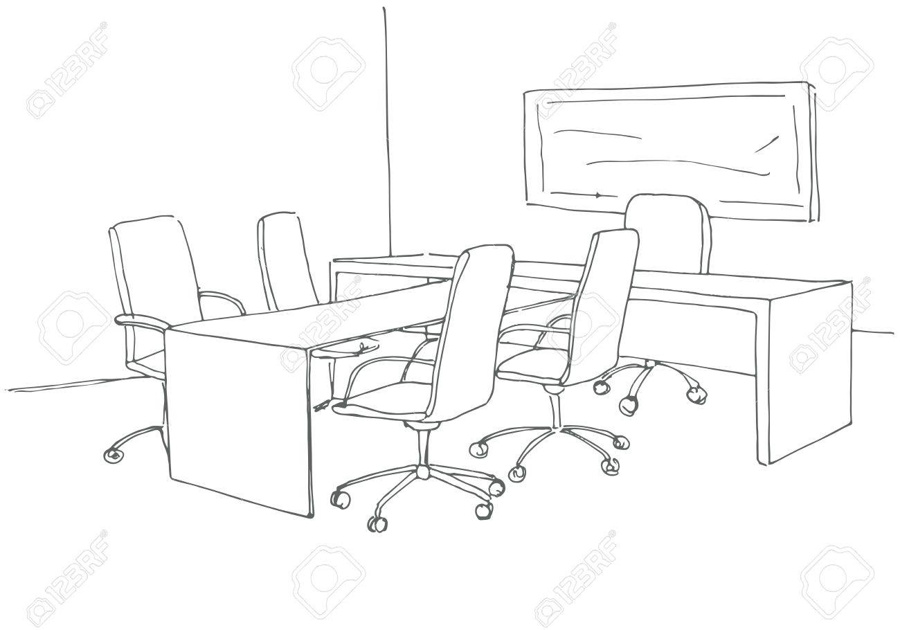 1300x910 Office In A Sketch Style. Hand Drawn Office Desk, Office Chair