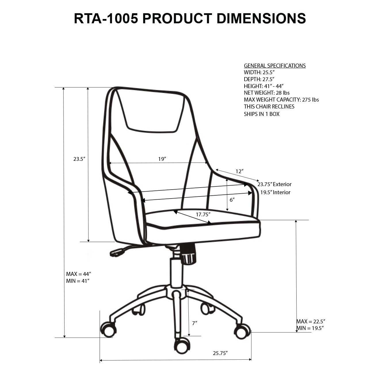 1300x1300 Techni Mobili Comfy Height Adjustable Rolling Office Chair