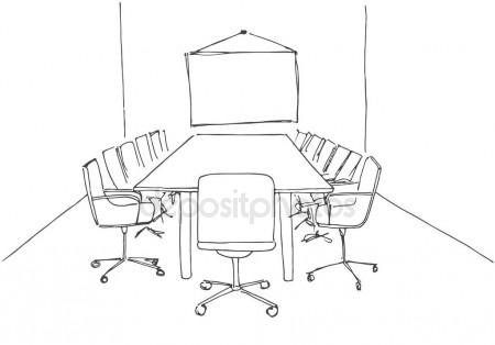 450x314 Conference Room In A Sketch Style. Hand Drawn Office Desk, Office