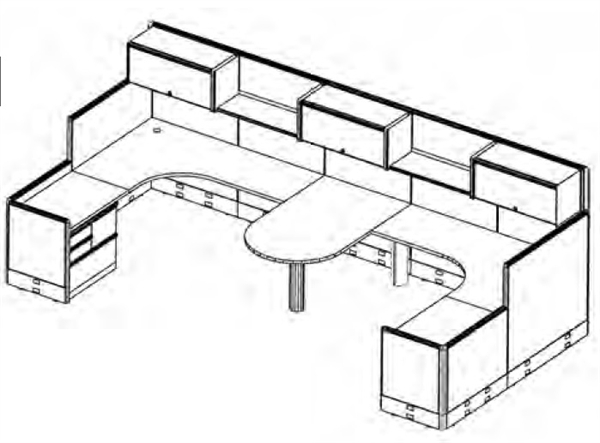 600x443 The Office Leader. 2 Person U Shape Shared Cubicle Desk
