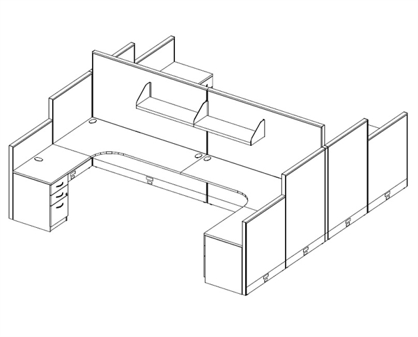 600x485 The Office Leader. Cluser Of 4 Person 72 X 72 L Shape Office
