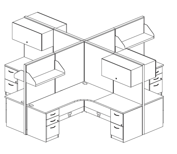600x521 The Office Leader. Cluster Of 4 Person 72 X 72 L Shape Cubicle