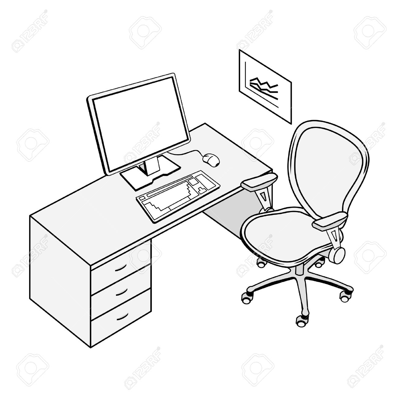 1300x1300 Typical Office Place In Black And White Contour Drawing Royalty