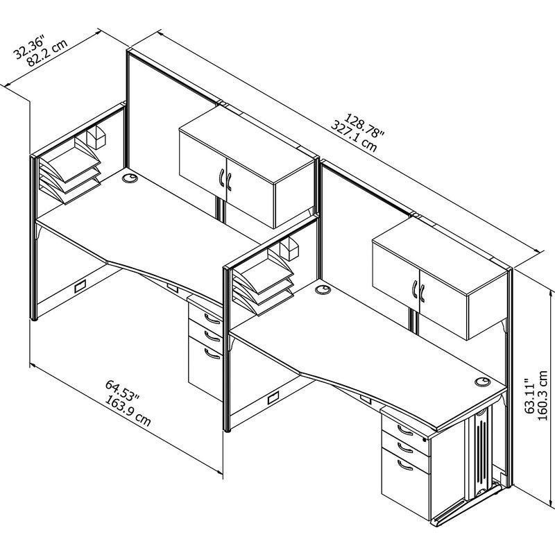 800x800 Bush Business Furniture 2 Person Cubicle Workstations 6 Piece Desk