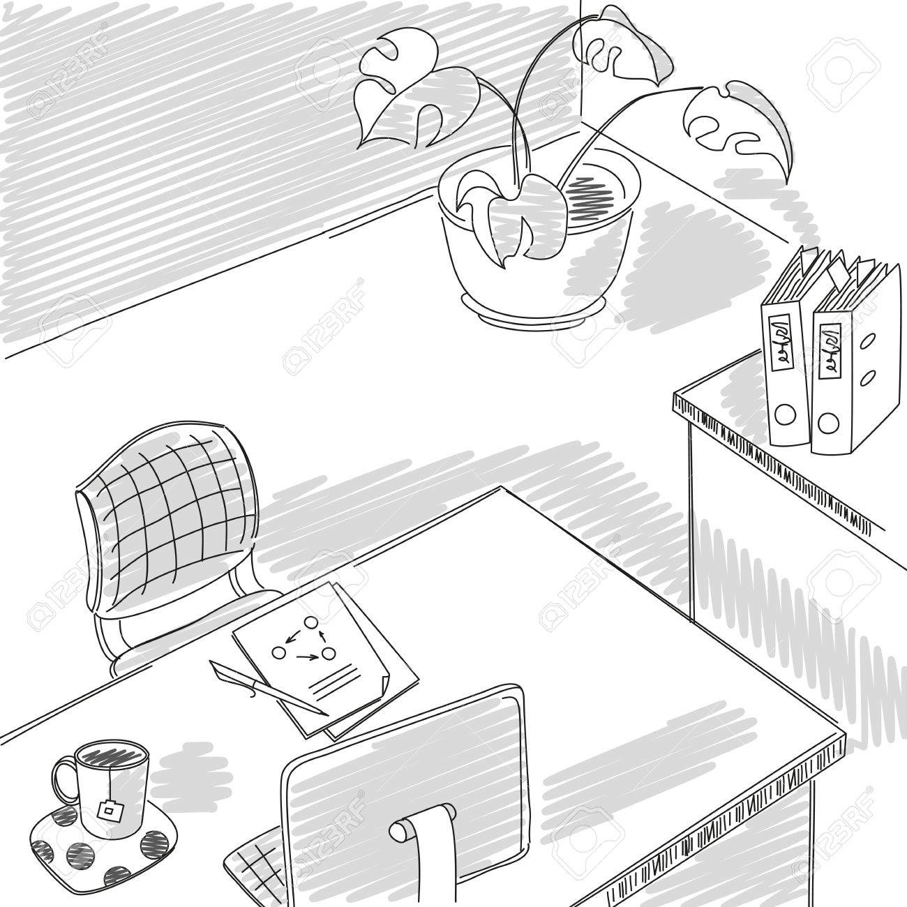 1300x1300 Office Sketch.graphical Drawing Design Interior Office Workplace