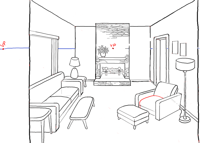 700x499 How To Draw A Room With Perspective Drawing Tutorial Of A Living