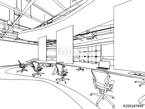 500x375 Interior Outline Sketch Drawing Perspective Office Stock Image