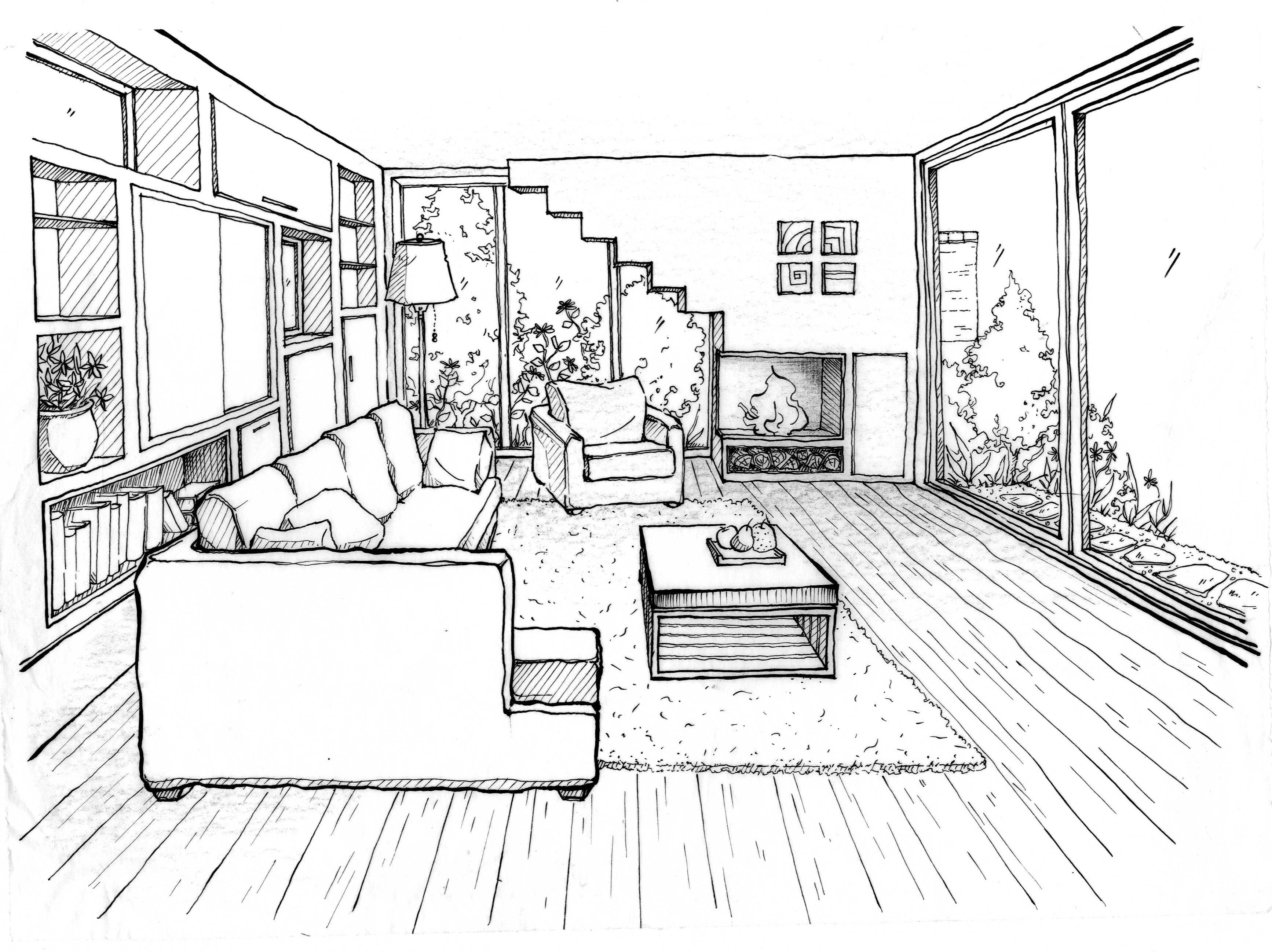 3468x2597 Living Room Perspective Drawing