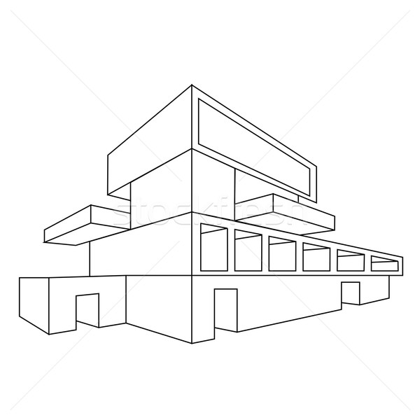 600x600 2d Perspective Drawing Of A House Vector Illustration Shawlin