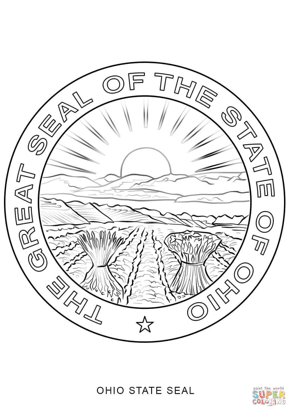 1020x1440 Ohio State Seal Coloring Page Free Printable Pages