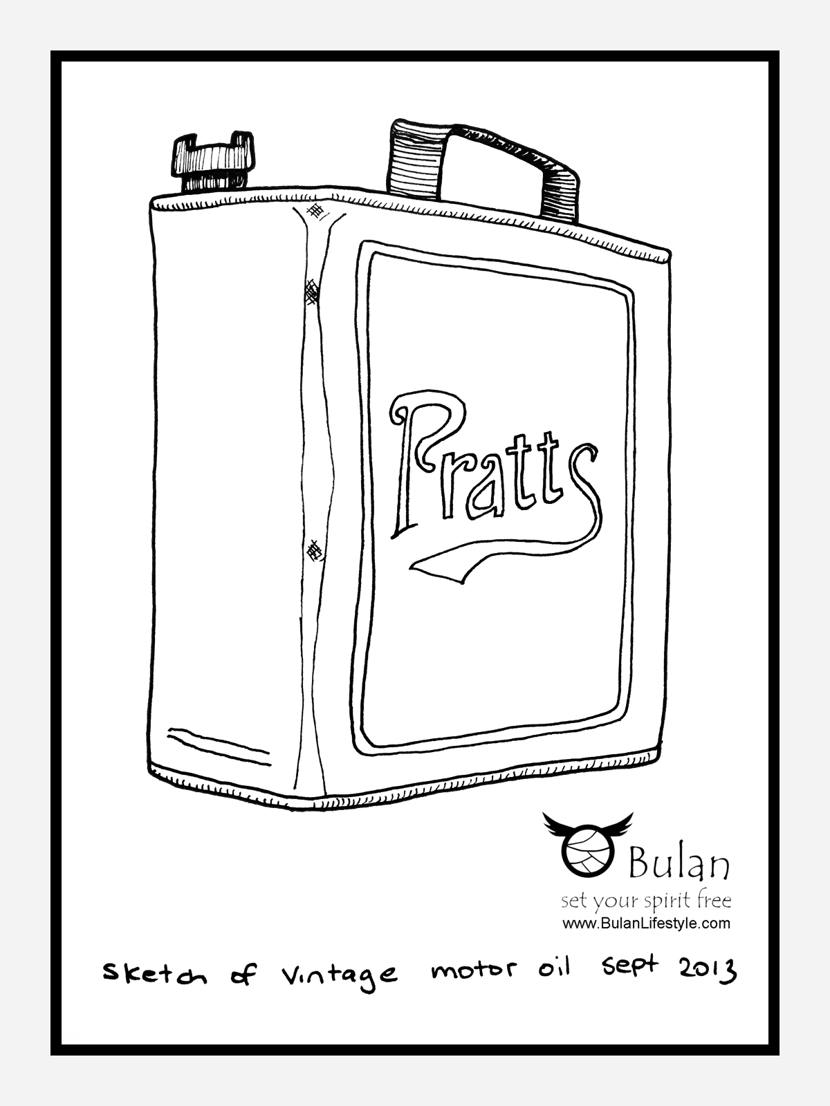 1200x1600 Sketch Of The Day No 156 Pratts Retro Motor Oil Can The Crazy