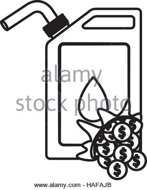 300x389 Gasoline Can And Coins Icon. Oil Industry Price And Commerce Theme