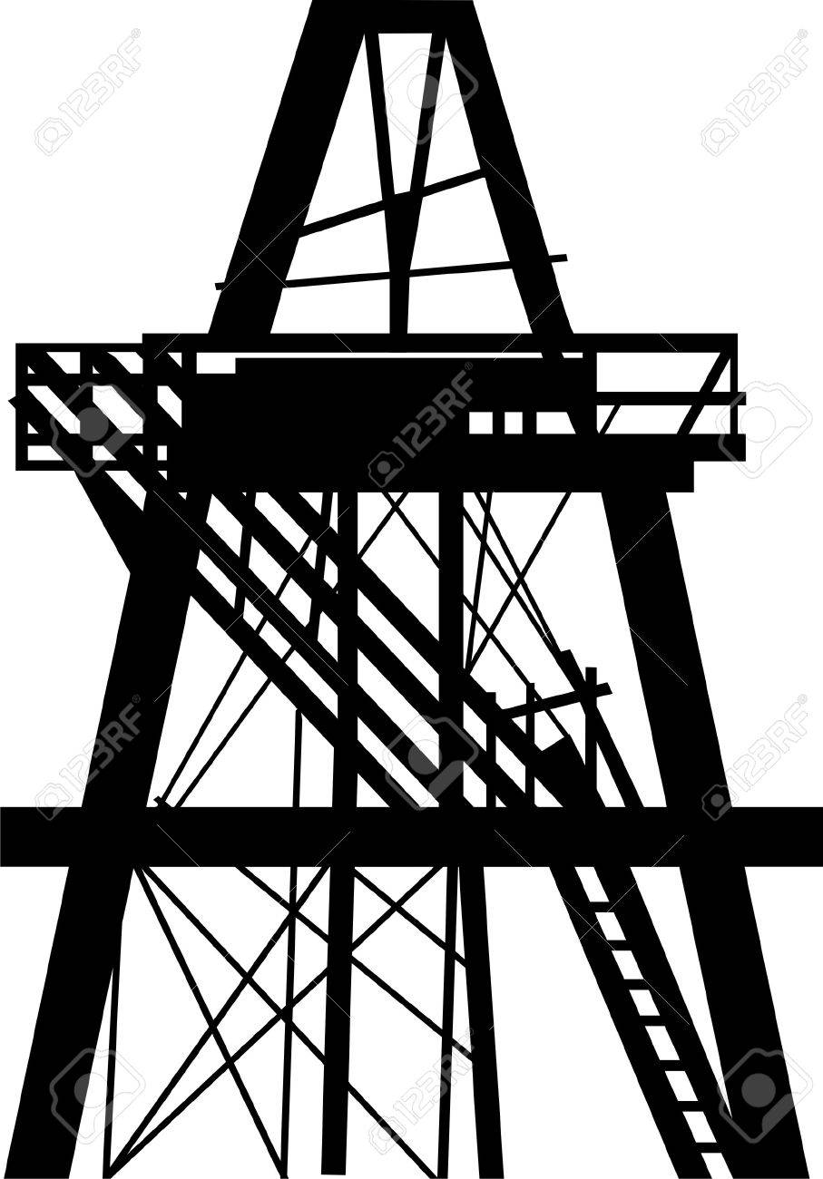 907x1300 Oil Rig In The Field Royalty Free Cliparts, Vectors, And Stock